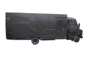 Verkaufsfahrzeuge – Verkaufsmobile: Foodtruck mit Verkaufsklappe - Essen und Trinken